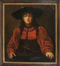 junge dame im roten kleid mit großem hut (after rembrandt) by jürgen ovens