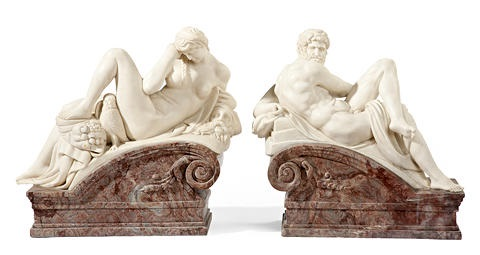allegorical figures representing night and day (pair) by michelangelo