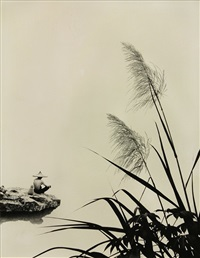 figure in hat overlooking a lake by don hong-oai