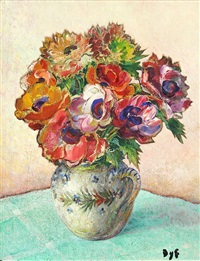 marcel dyf (french, 1899-1985), still life with flowers, oil on canvas, signed lower right, canvas: 14
