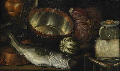 stilleben med fisk och grönsaker by cornelis jacobsz delff