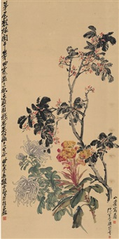 三秋图 (chrysanthemum, cockscomb and osmanthus) by cheng zhang, zhao yunhe, and huang shanshou