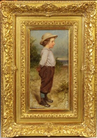 young boy, seascape background by seymour joseph guy