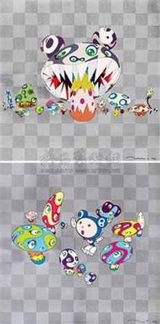 (两件一组) n cha ; here comes media 2 works by takashi murakami