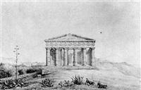 italienische landschaft mit griechischen tempelruinen by karl ludwig von zanth