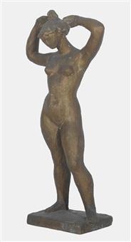 stehender weiblicher akt, sich die haare hochsteckend by gustave piguet