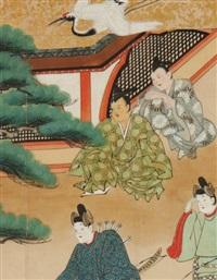 l'arrivée d'un habitant de la lune pour amener kaguya hime (princesse lumineuse, de la lune)(+ 3 others; 4 works) by japanese school-tosa (17)