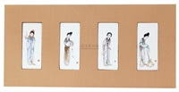 粉彩仕女 (一套) (a set of ladies planks) (4 works) by liu xiren