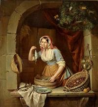 junge hübsche marktfrau verkauft heringe und maroni by elisabeth alida van haanen