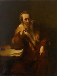 portrait eines bärtigen gelehrten mit pelzverbrämtem mantel, in typischer charakterisierung by leo von könig