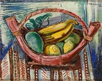 früchtekorb mit bananen und zitronen auf ornamentaler tischdecke by arthur kaufmann