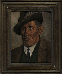 portrait eines chiemgauer bauern (+ sitzende frau (study), verso) by karl gembs