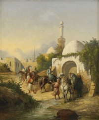 kavallerister vid orientalisk stad by giulio fabri