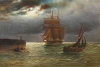 segelschiff und boote vor der mole bei vollmond by alfred jensen