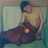 halbfigürlicher weiblicher akt mit orange by adolf holzmann