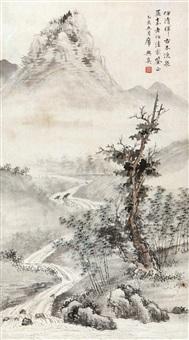 古木流泉图 (landscape) by xi yuzhen