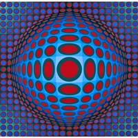 untitled in colors (framed) by victor vasarely