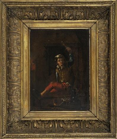 junger mann im wams sitzt auf einem schemel und hält einen stab über seinen kopf by jan steen
