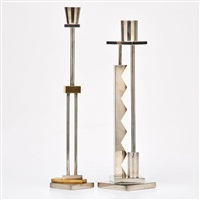 two silvershade candlesticks by ettore sottsass