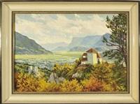 südtirol - schloss lebenberg mit blick in eine weite, herbstliche tallandschaft by josef vogl