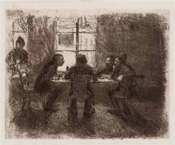 vier männer in der kneipe als frühe fassung der beratung by käthe kollwitz