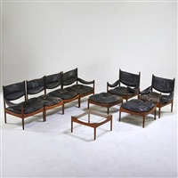 nine pieces: two modus lounge chairs and ottomans by kristian solmer vedel