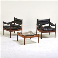 modus lounge chairs and side table (pair) by kristian solmer vedel