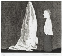 the sexton disguised as a ghost, pl.20 (from illustrations for six fairy tales from the brothers grimm) (sold with 298b&c; set of 3) by david hockney