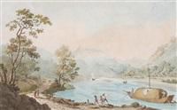 ziegelbrücke: vue de la linth aux environs du couvent de schaenis by achilles benz