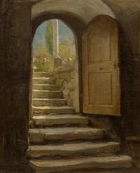 treppenaufgang zum kirchhof by albert anker
