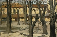 trees in winter (+ houses in snow; pair) by ernesto alcide campestrini