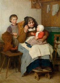 grossmutter, ihrem enkelkind die suppe gebend by albert anker