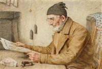 älterer mann beim zeitunglesen by albert anker