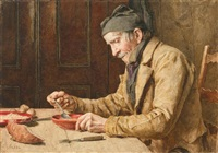 mann beim suppe essen by albert anker