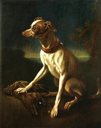 a dog with a dead bird in a landscape by abraham danielsz hondius