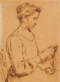 strickende frau by albert anker