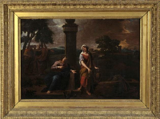 am jakobsbrunnen jesus gibt sich einer samariterin als messias zu erkennen und wird von seinen jüngern verwundert beobachtet by nicolas poussin