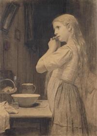 mädchen beim zöpfe flechten by albert anker