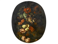 a still life with roses, tulips and other flowers by simon pietersz verelst