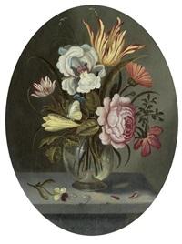 blumenstrauss mit tulpe, iris und rose by abraham bosschaert