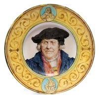 allegorie der wissenschaft. drei herrenporträts by albert anker