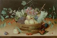 flechtkorb mit früchten auf einer tischplatte mit insekten by isaac soreau