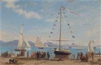 inauguration d'un bateau lacustre sur le quai d'ouchy by francois-louis-david bocion