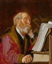 heiliger lukas, der evangelist, mit dem stier beim lesen by lambert jacobsz