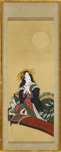 koto playing woman by kikugawa toshinobu eizan