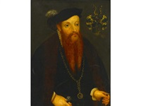 a portrait of a gentleman, half length, wearing a fur-trimmed cloak by hans asper