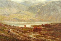 highland cattle by loch argyll by alexander young