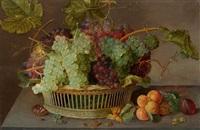 früchtestillleben mit trauben in einem flechtkorb und aprikosen auf einer tischplatte by isaac soreau