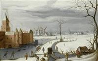 winterlandschaft mit schlittschuhläufern auf einem zugefrorenen burggraben vor einem schloss by abel grimmer