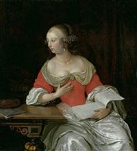 edle dame an einem tisch mit laute und notenblättern by eglon hendrik van der neer